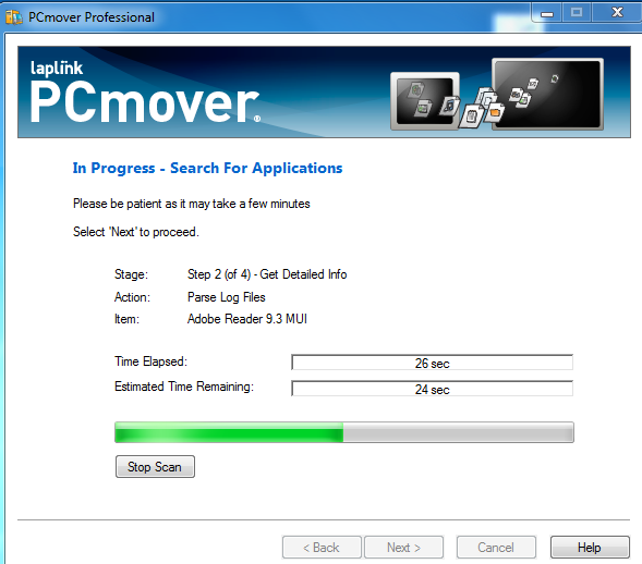 PcMover Transfer in progress