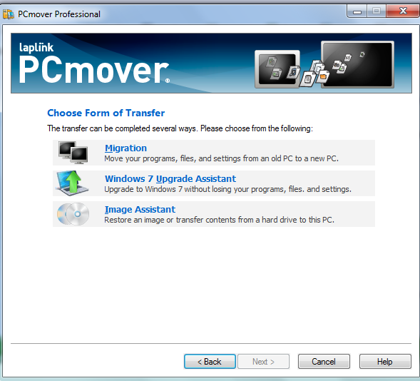 Laplink PCmover Transfer Choices